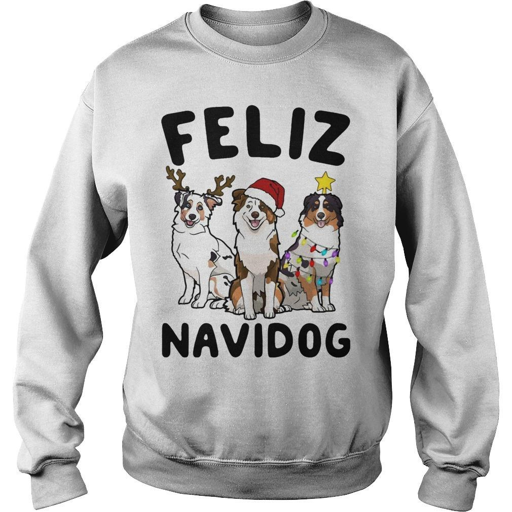 Australian Shepherd Feliz Navidog Sweater