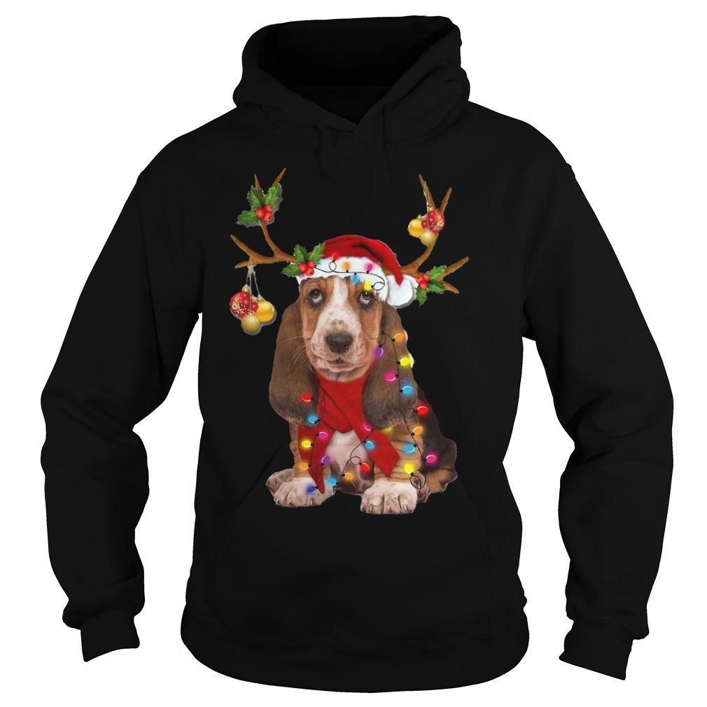 Basset Hound Reindeer Christmas Hoodie