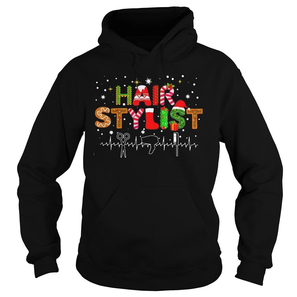 Christmas Hair Stylist Heartbeat Hoodie