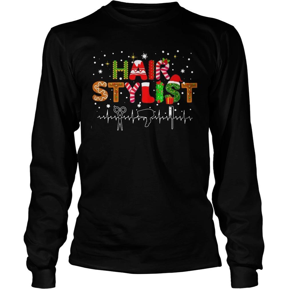 Christmas Hair Stylist Heartbeat Longsleeve