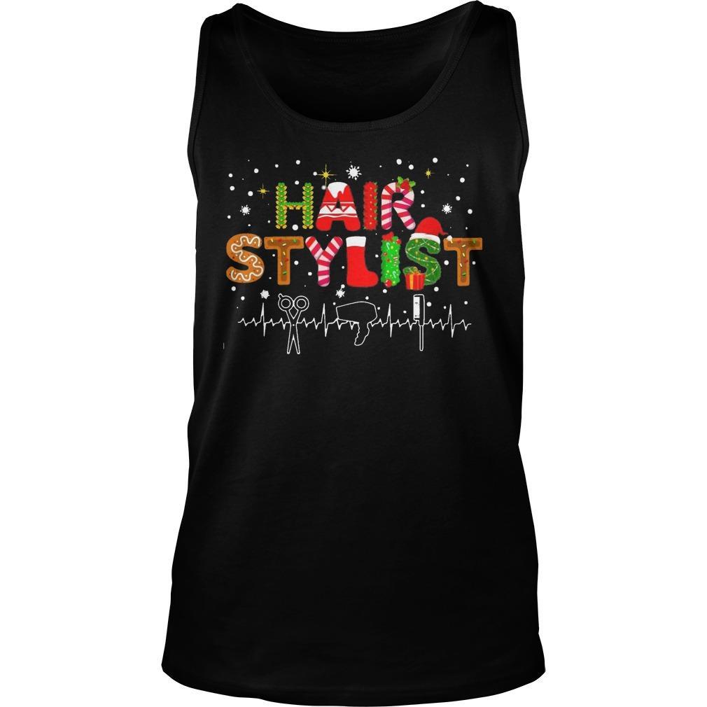 Christmas Hair Stylist Heartbeat Tank Top