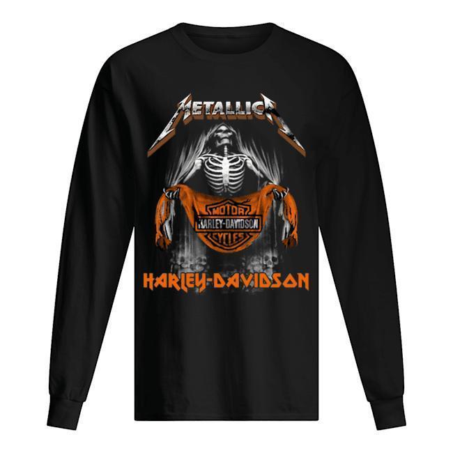 Metallica Skull Motor Cycles Harley Davidson T Longsleeve