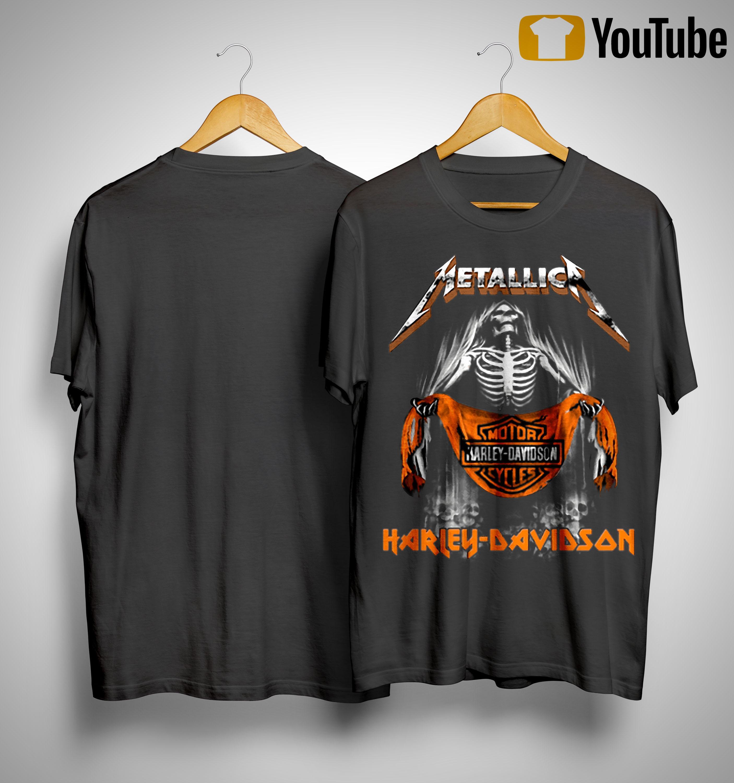 Metallica Skull Motor Cycles Harley Davidson T Shirt