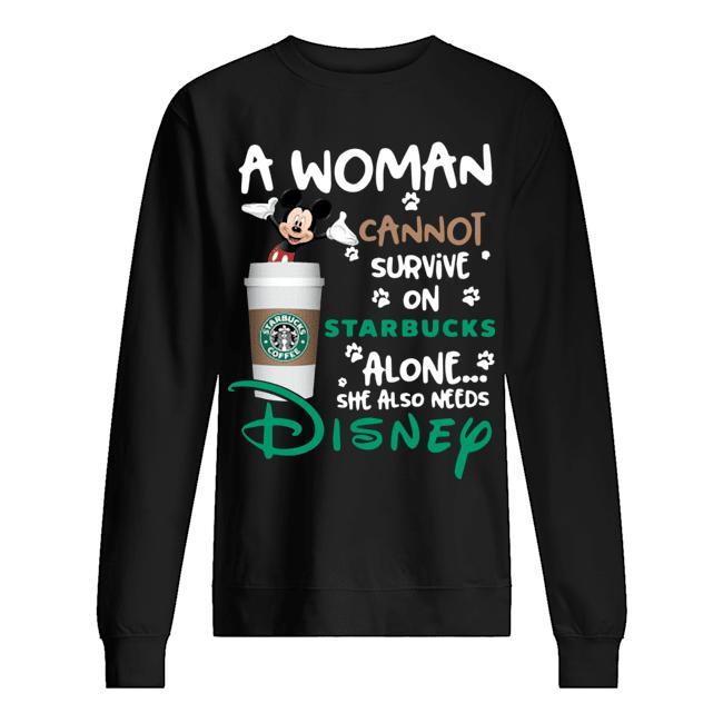 Mickey A Woman Cannot Survive On Starbucks Alone She Also Needs Disney Sweater