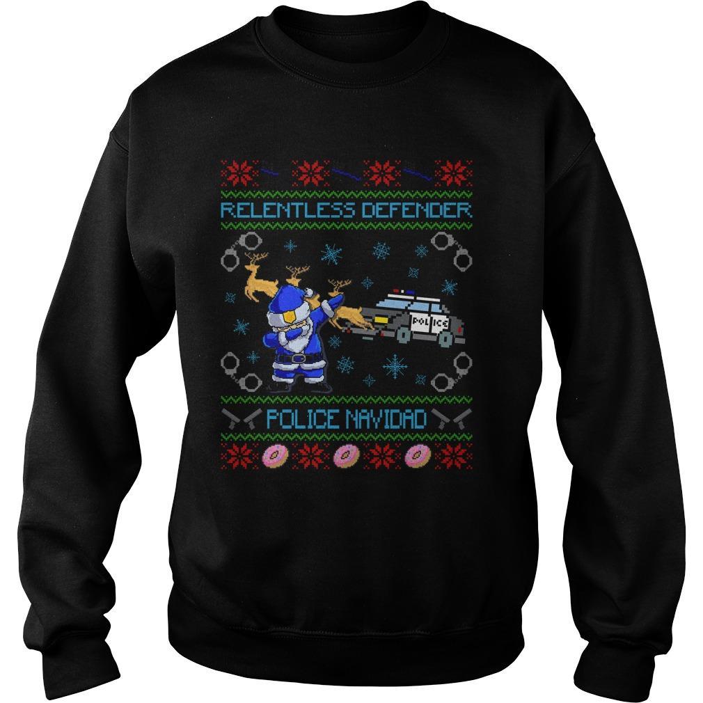 Relentless Defender Police Navidad Guly Christmas Sweater