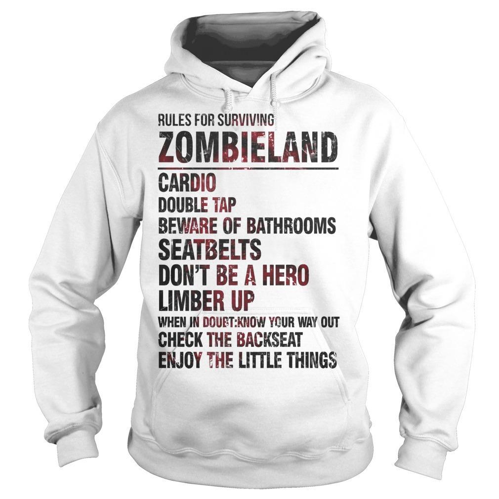 Rules For Surviving Zombie Land Cardio Double Tap Beware Of Bathrooms Hoodie