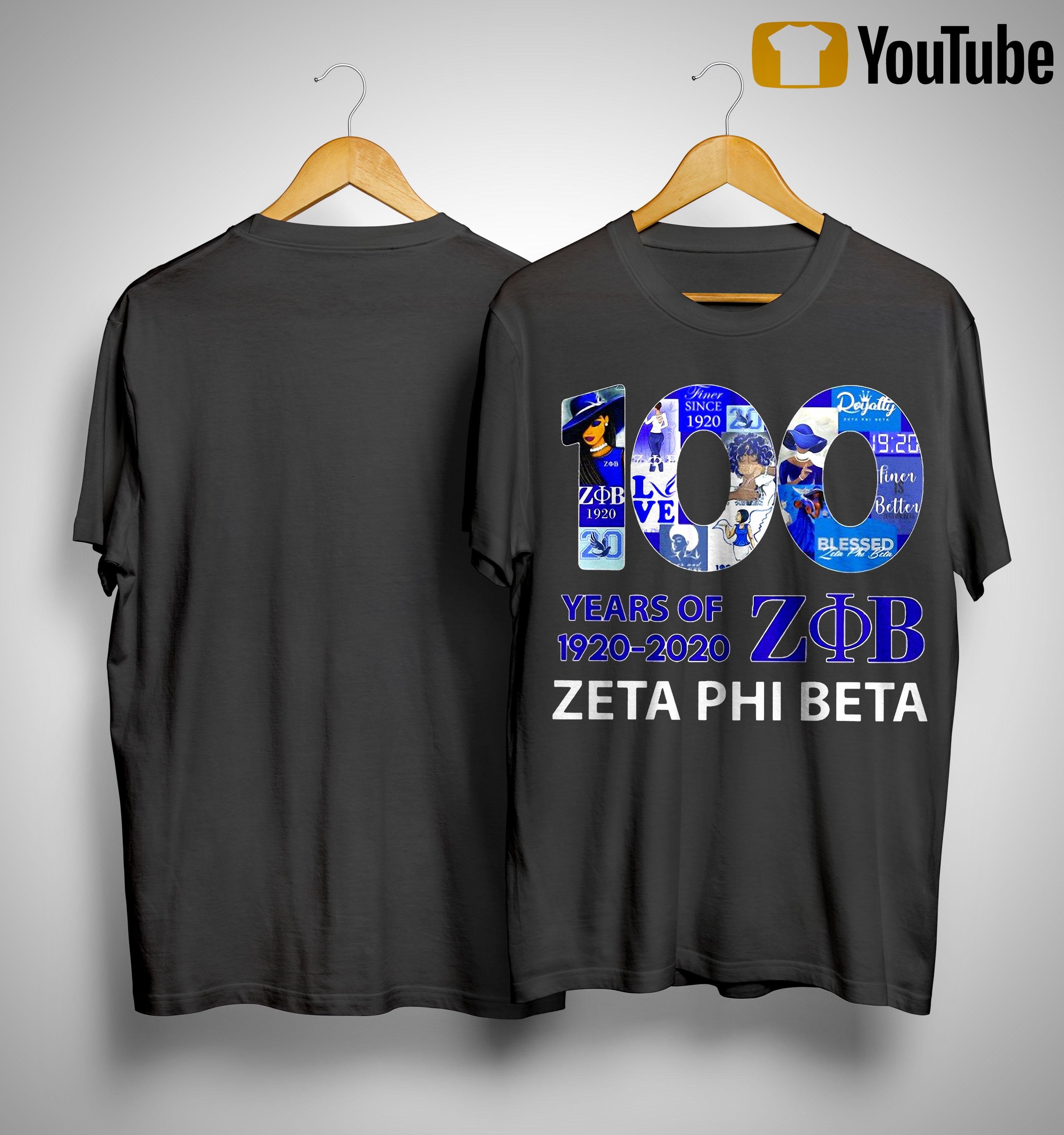 100 Years Of 1920 2020 Zob Zeta Phi Beta Shirt
