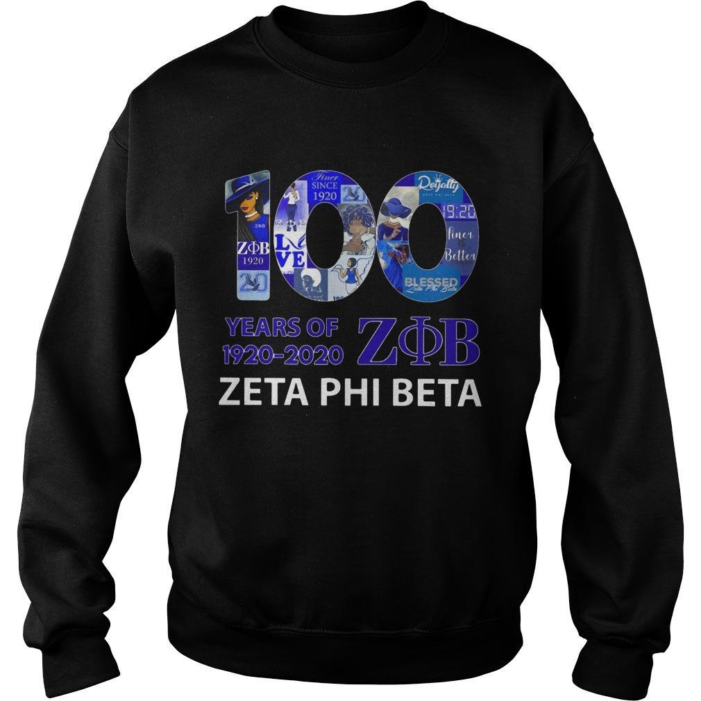 100 Years Of 1920 2020 Zob Zeta Phi Beta Sweater