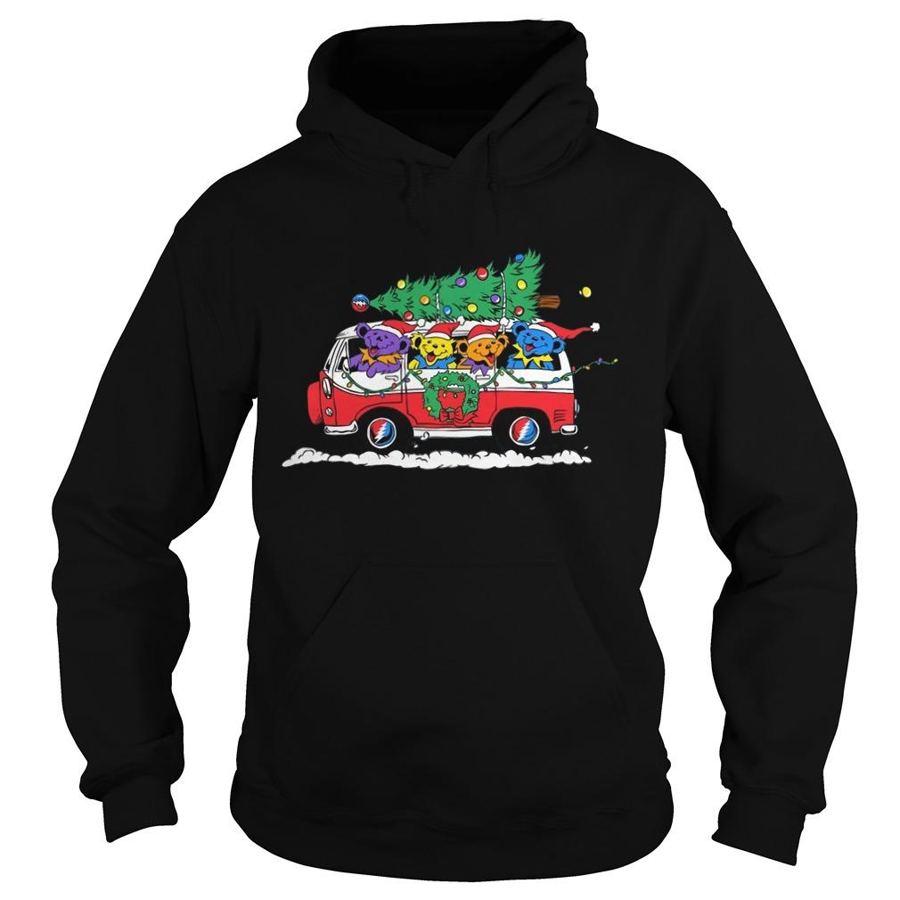 Little Bears On Truck Merry Christmas Hoodie