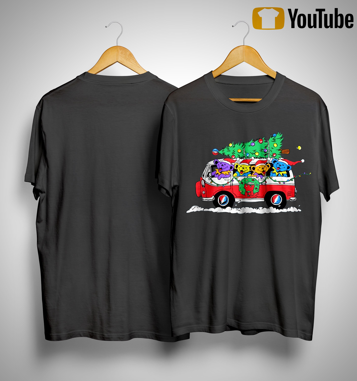 Little Bears On Truck Merry Christmas Shirt