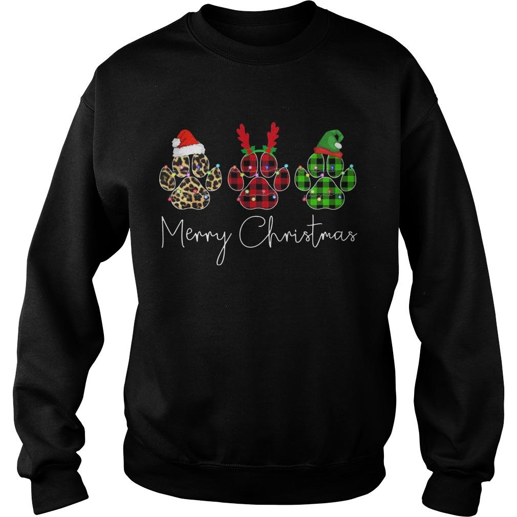 Merry Christmas Dog Paw Sweater