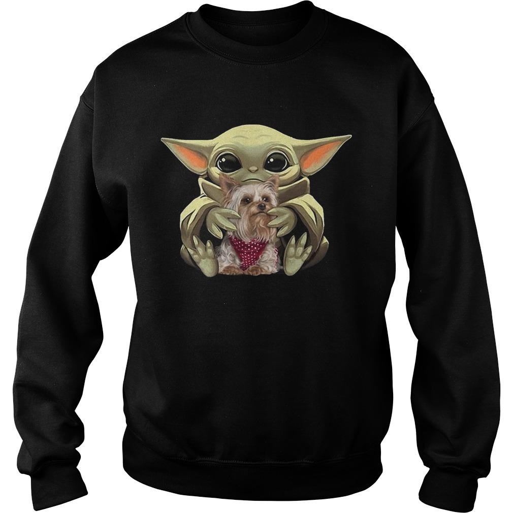 Baby Yoda Hugging Yorkie Sweater