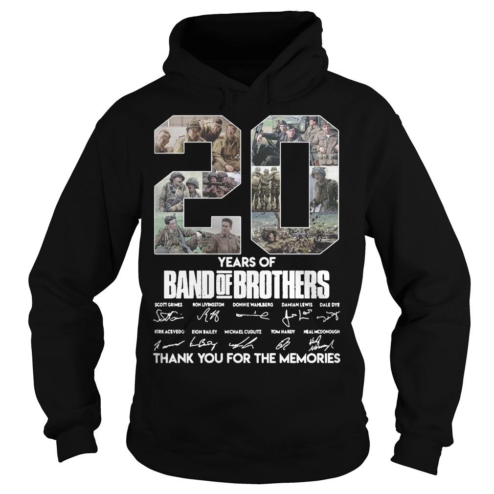 20 Years Of Band Of Brothers Thank You For The Memories Signature Hoodie