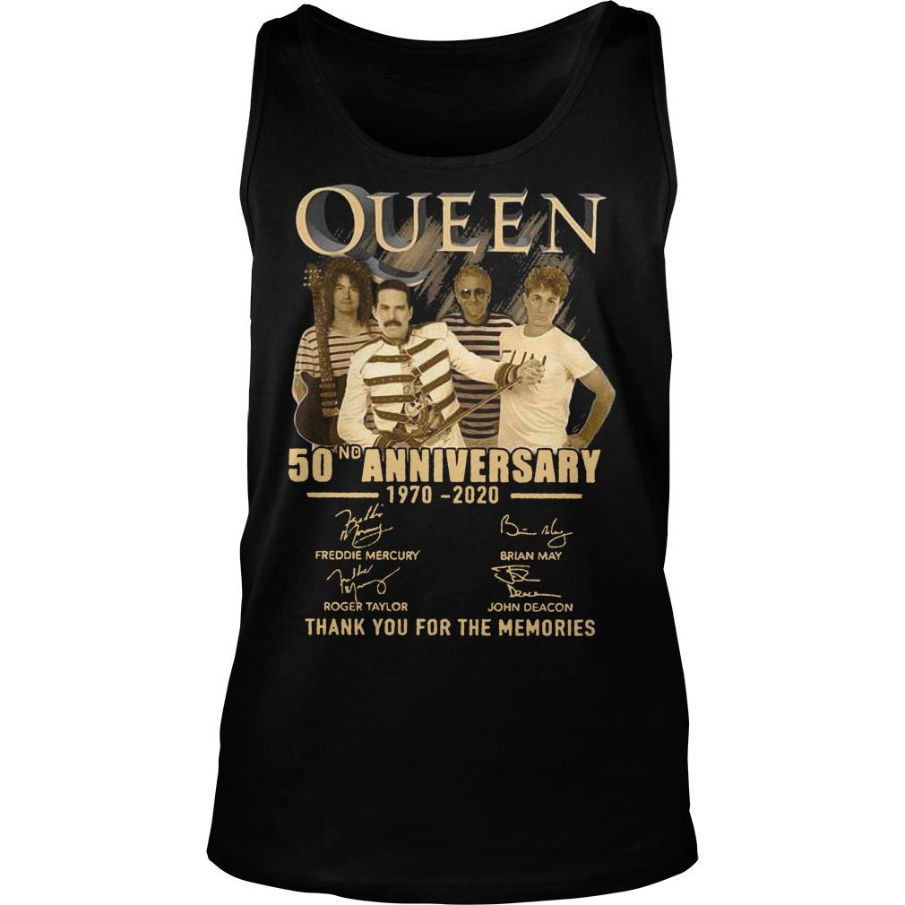 Queen 50nd Anniversary 1970 2020 Thank You For The Memories Tank Top