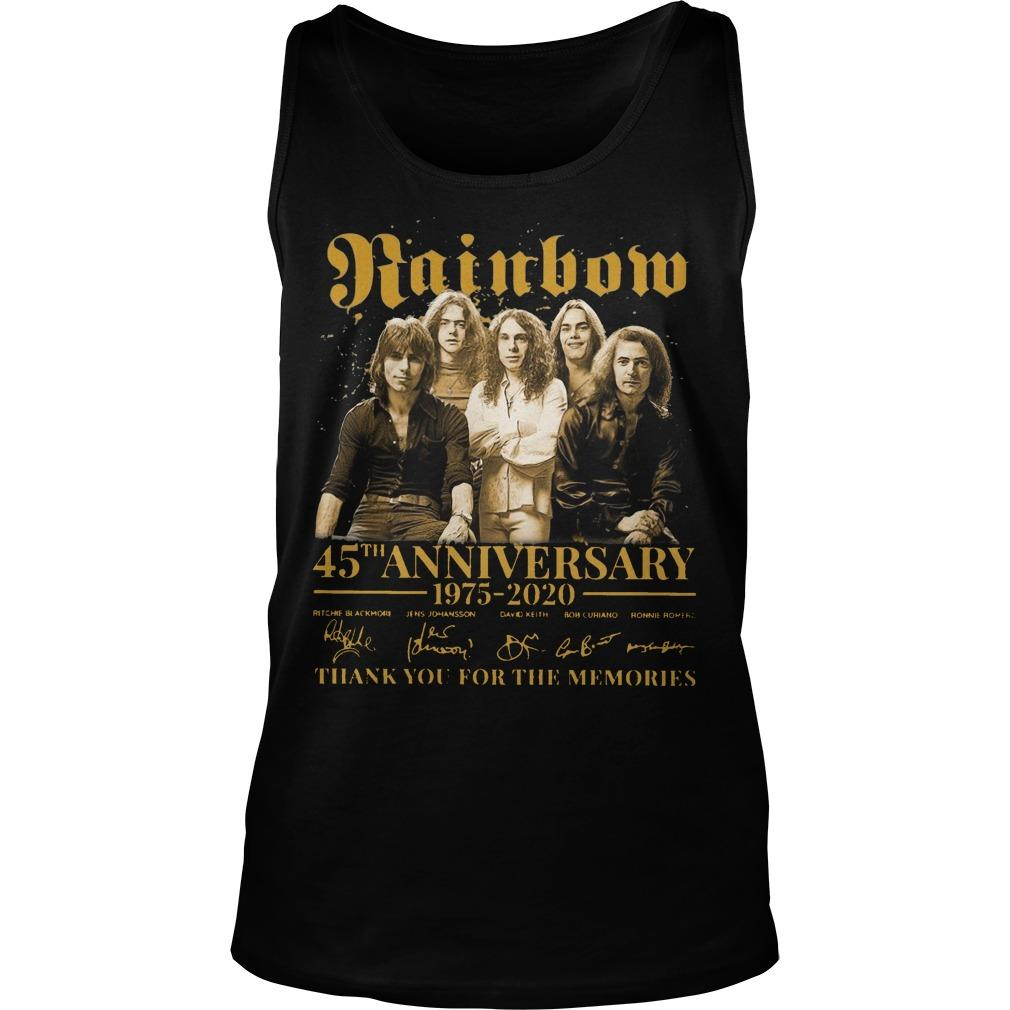 Rainbow 45th Anniversary 1975 2020 Thank You For The Memories Tank Top