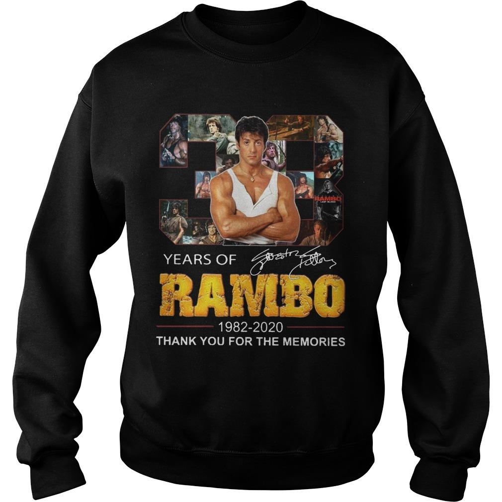 38 Years Of Rambo 1982 2020 Thank You For The Memories Sweater
