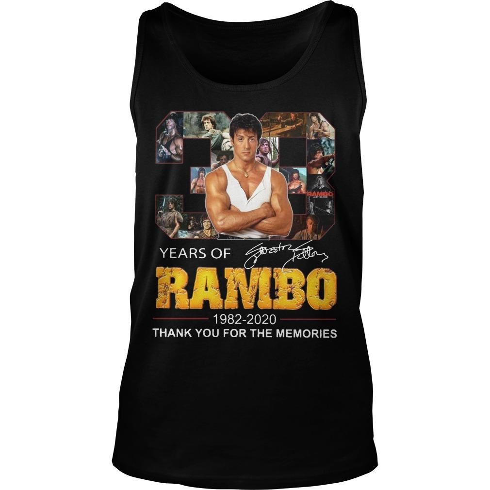 38 Years Of Rambo 1982 2020 Thank You For The Memories Tank Top