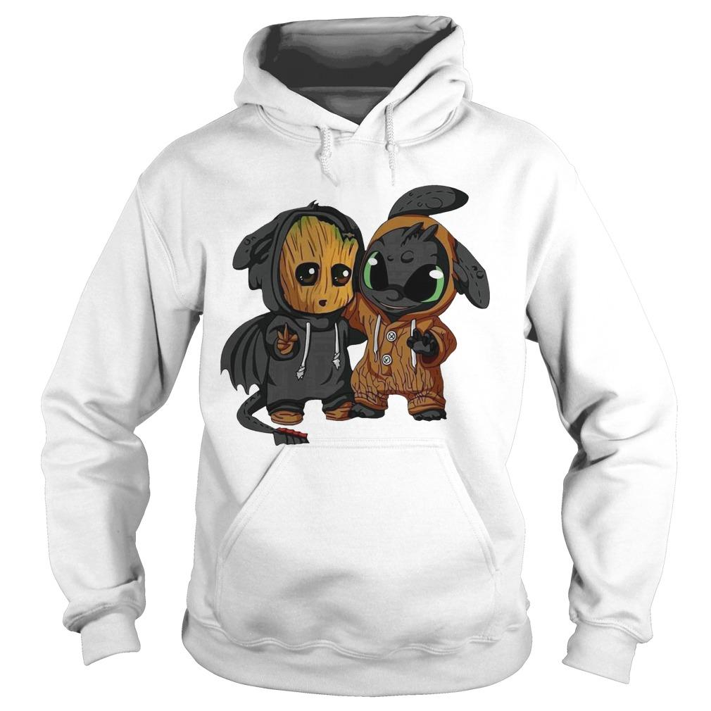 Baby Groot And Toothless Hoodie