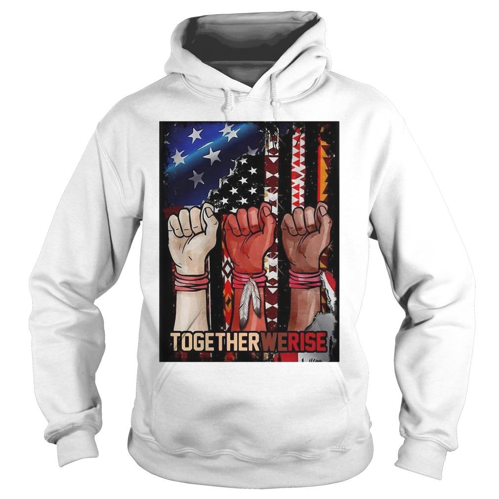 American Flag Black Live Matter Strong Hand Together We Rise Hoodie