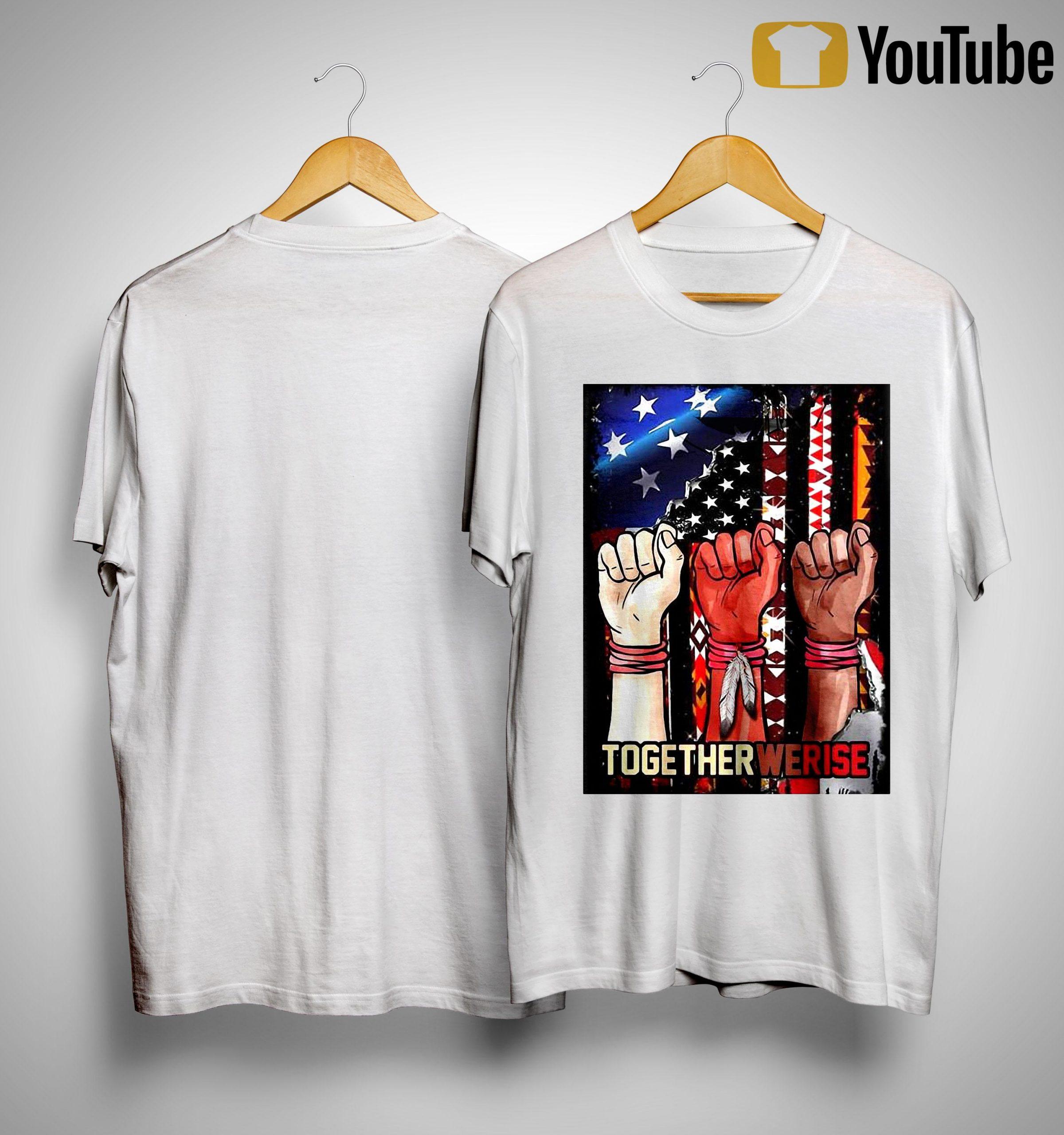 American Flag Black Live Matter Strong Hand Together We Rise Shirt