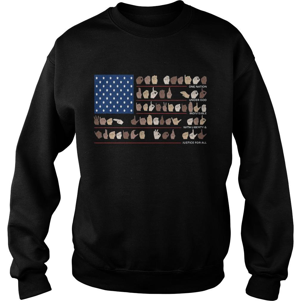 American Flag Hand Signature One Nation Under With Liberty Justice For All Sweater