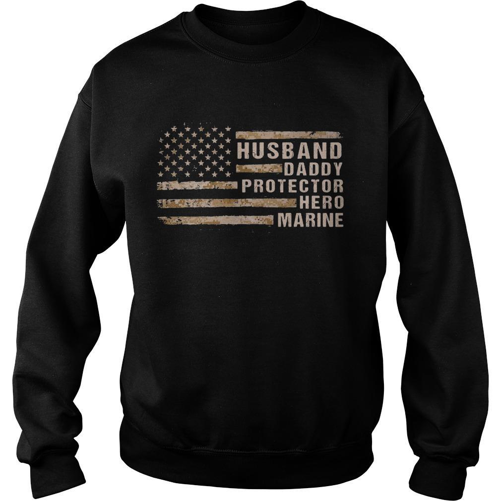 American Flag Husband Daddy Protector Hero Marine Sweater