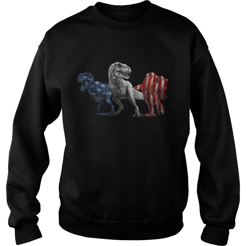 American Flag Independence Day Dinosaurs Sweater