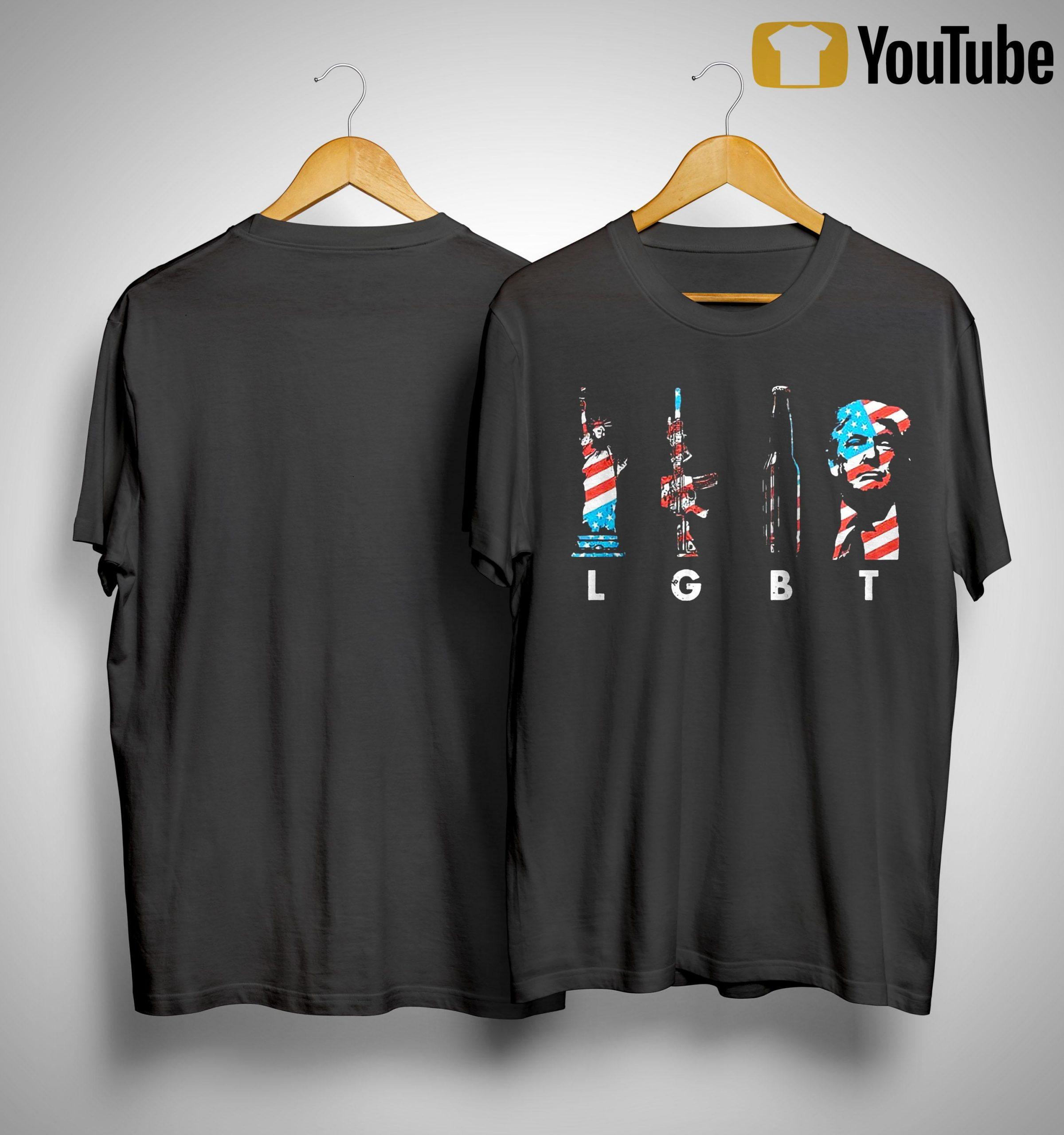 American Flag Liberty Statue Gun Beer Trump Lgbt Shirt