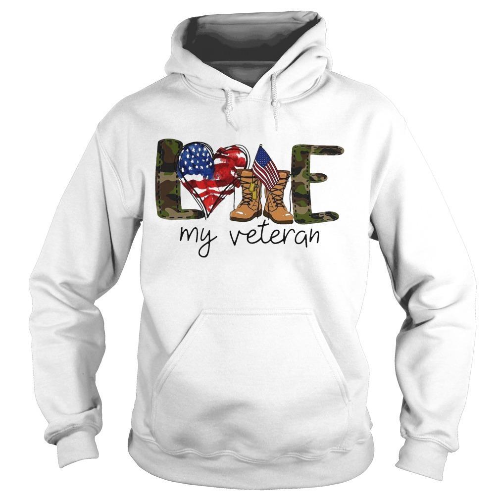 American Flag Love My Veteran Hoodie