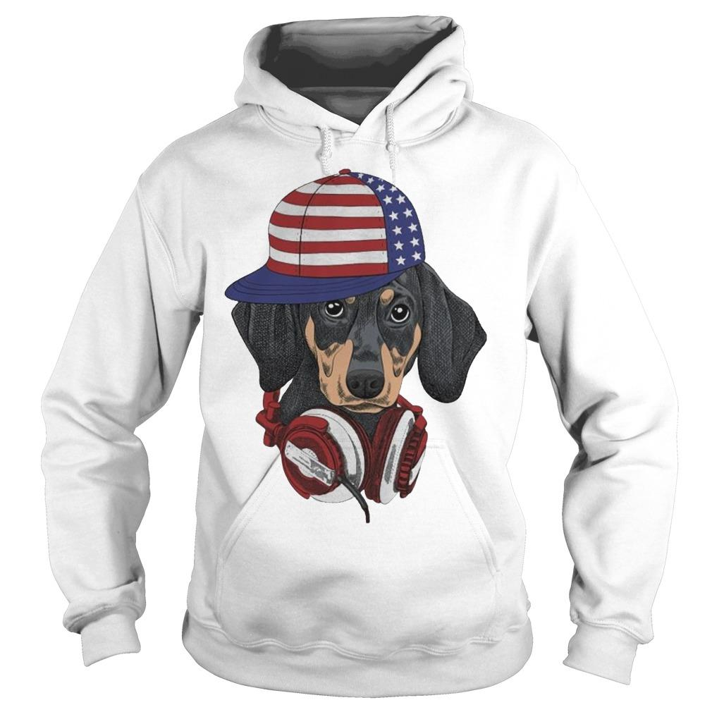 Dachshund Modern Happy The 4th Of July Hoodie