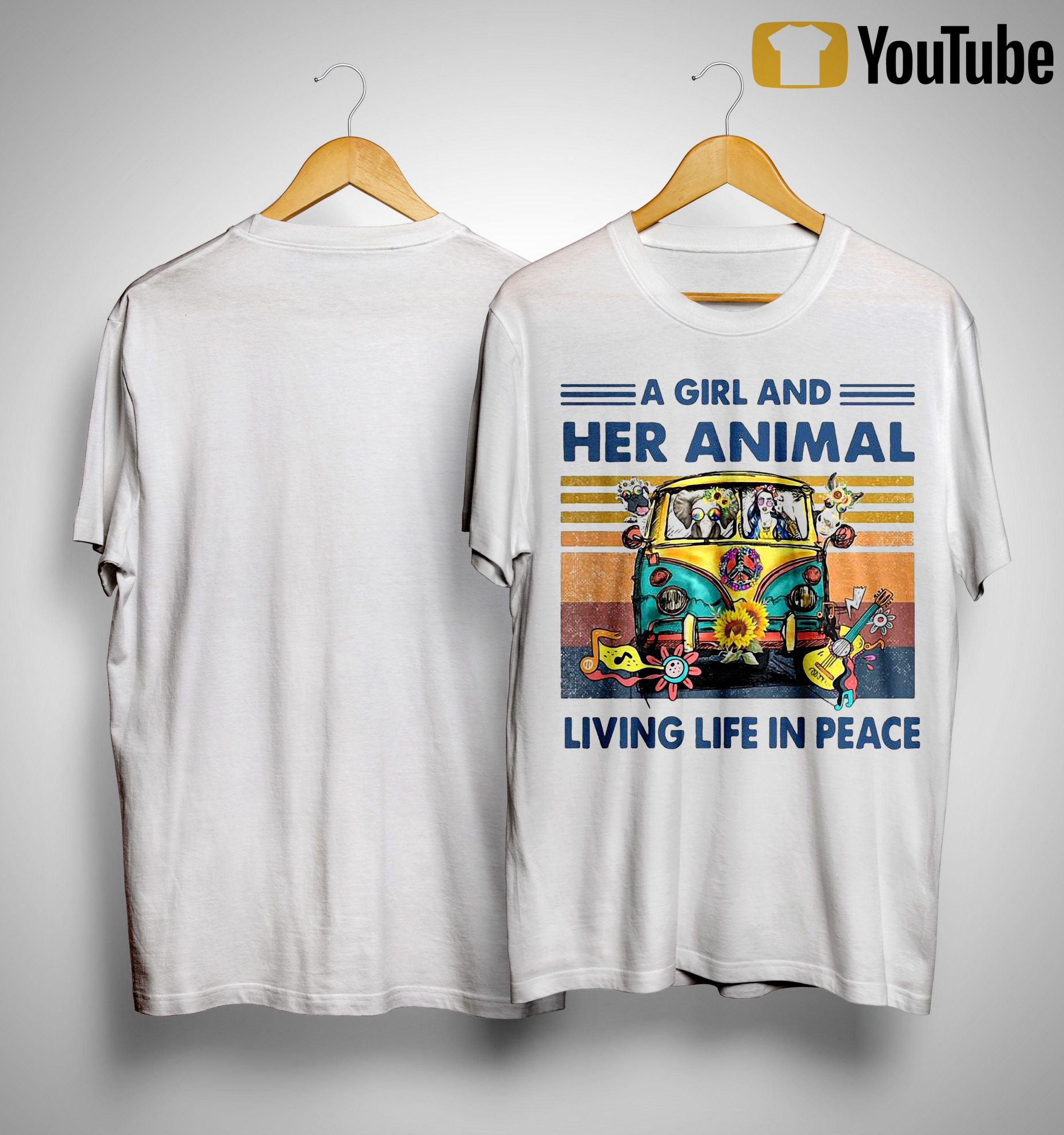 Vintage A Girl And Her Animal Living Life In Peace Shirt