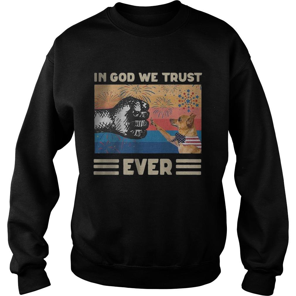 Vintage American Flag Miniature Pinscher In God We Trust Ever Sweater