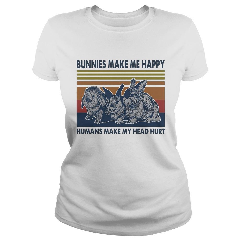 Vintage Bunnies Make Me Happy Humans Make My Head Hurt Longsleeve