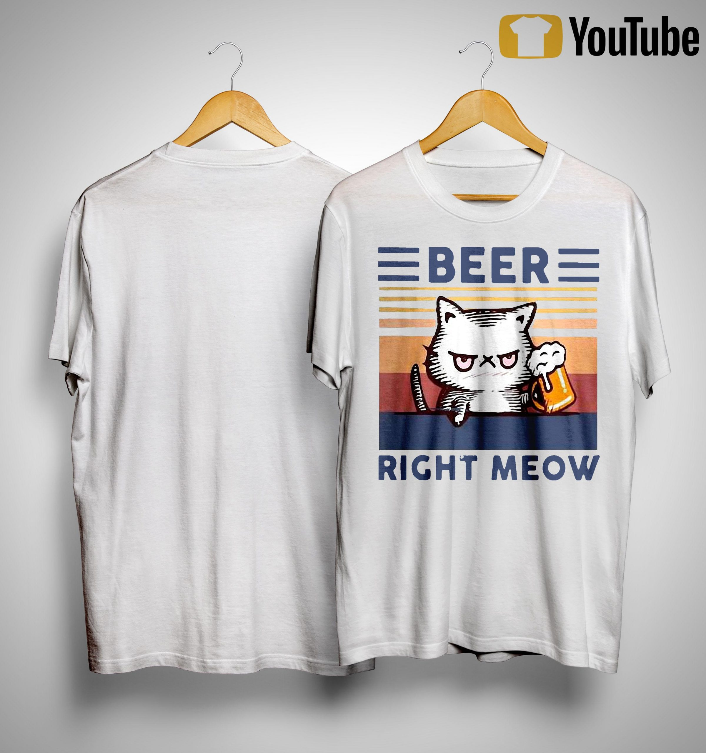 Vintage Cat Beer Right Meow Shirt