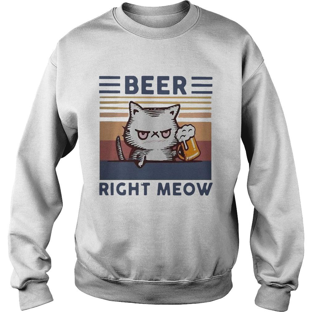 Vintage Cat Beer Right Meow Sweater