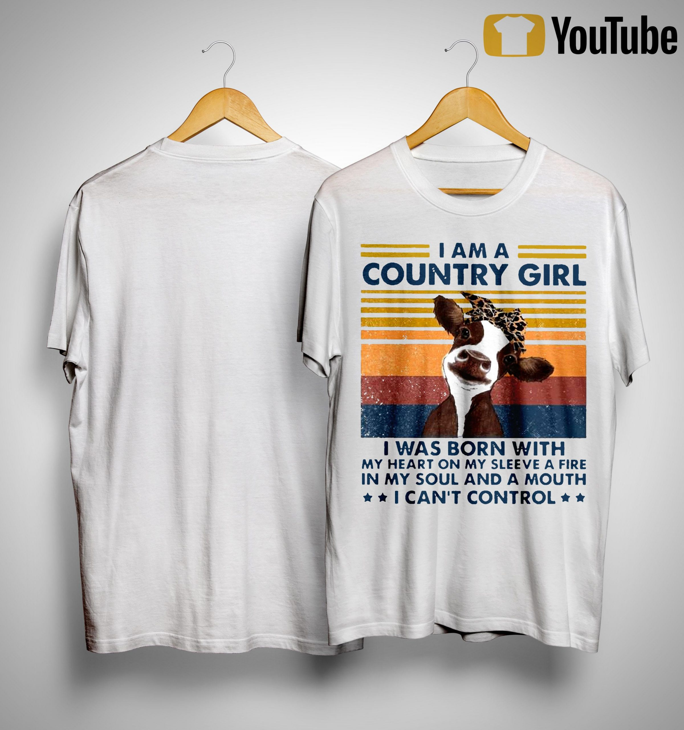 Vintage Cow I Am A Country Girl I Was Born With My Heart On My Sleeve Shirt