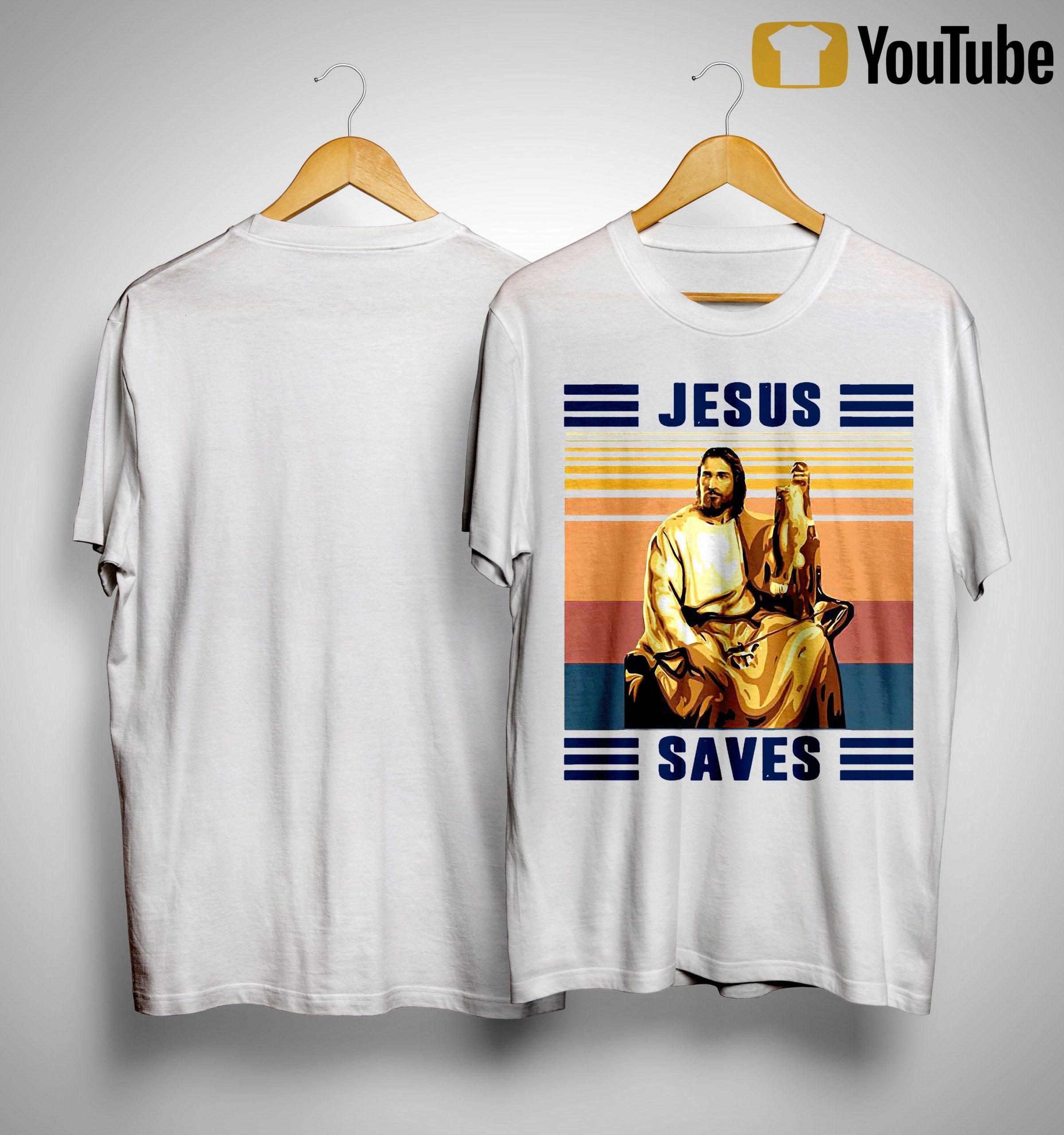Vintage Fishing Jesus Saves Shirt