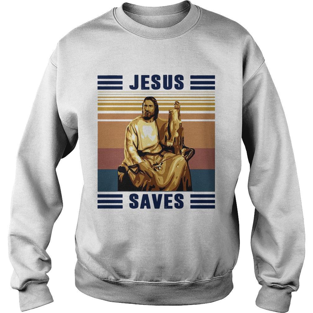 Vintage Fishing Jesus Saves Sweater