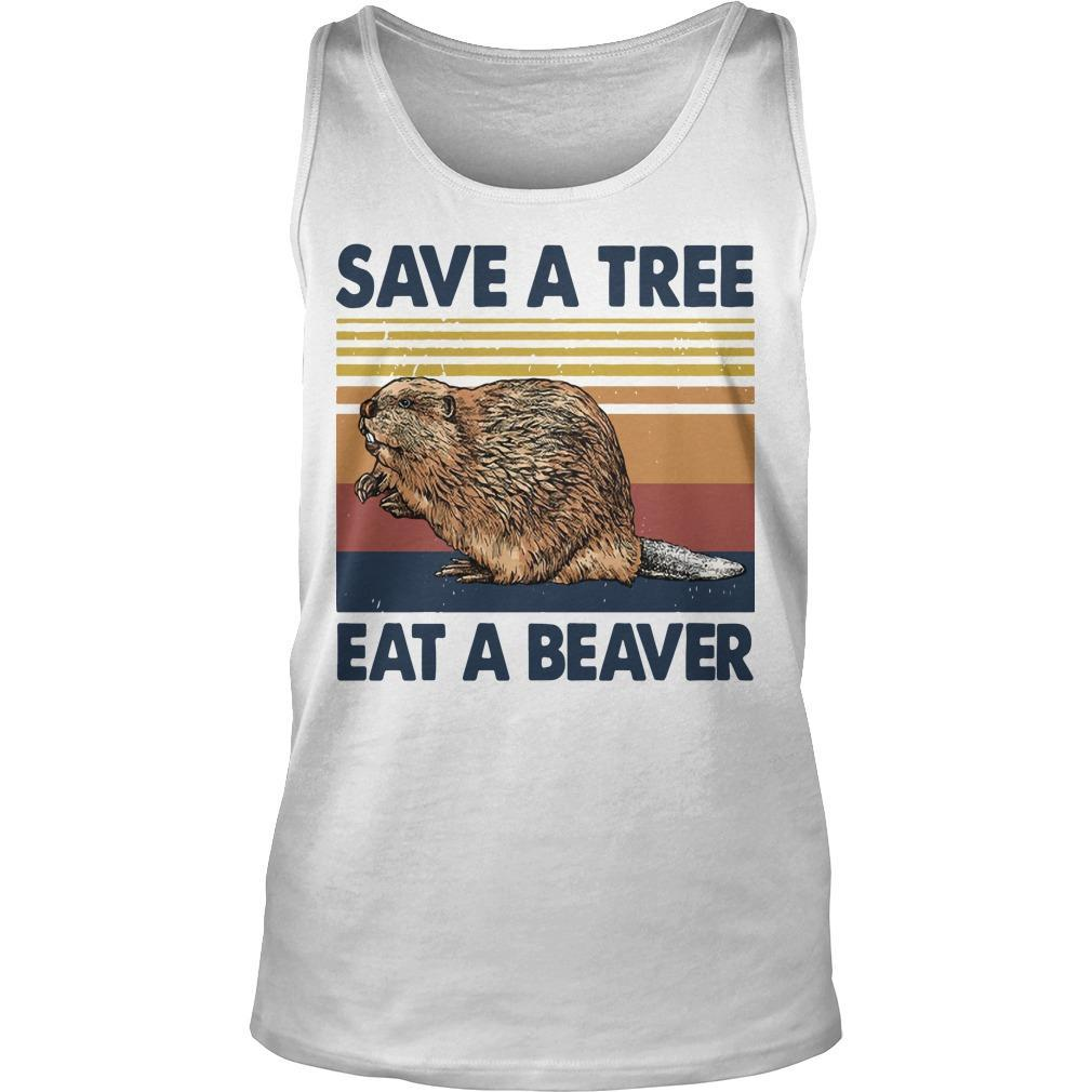 Vintage Save A Tree Eat A Beaver Tank Top