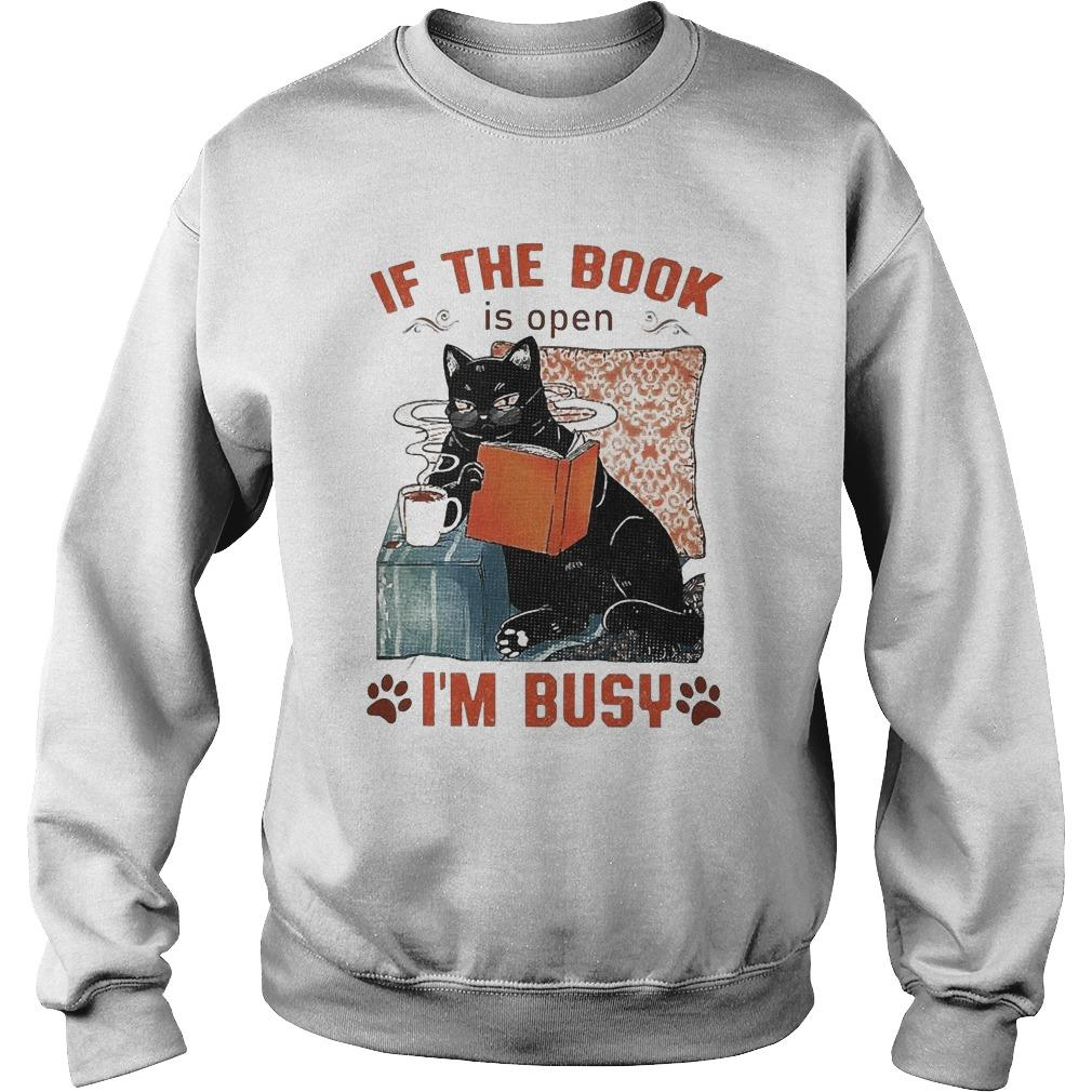 Cat If The Book Is Open I'm Busy Sweater