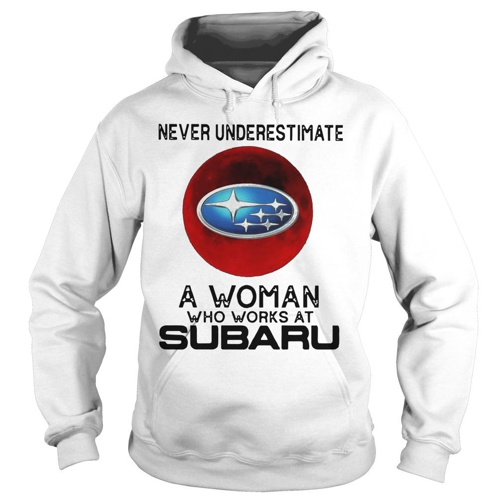 Moon Never Underestimate A Woman Who Works At Subaru Hoodie