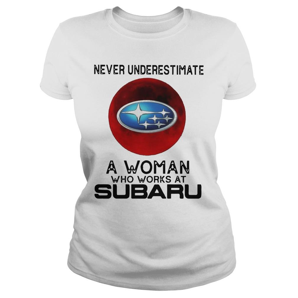 Moon Never Underestimate A Woman Who Works At Subaru Longsleeve