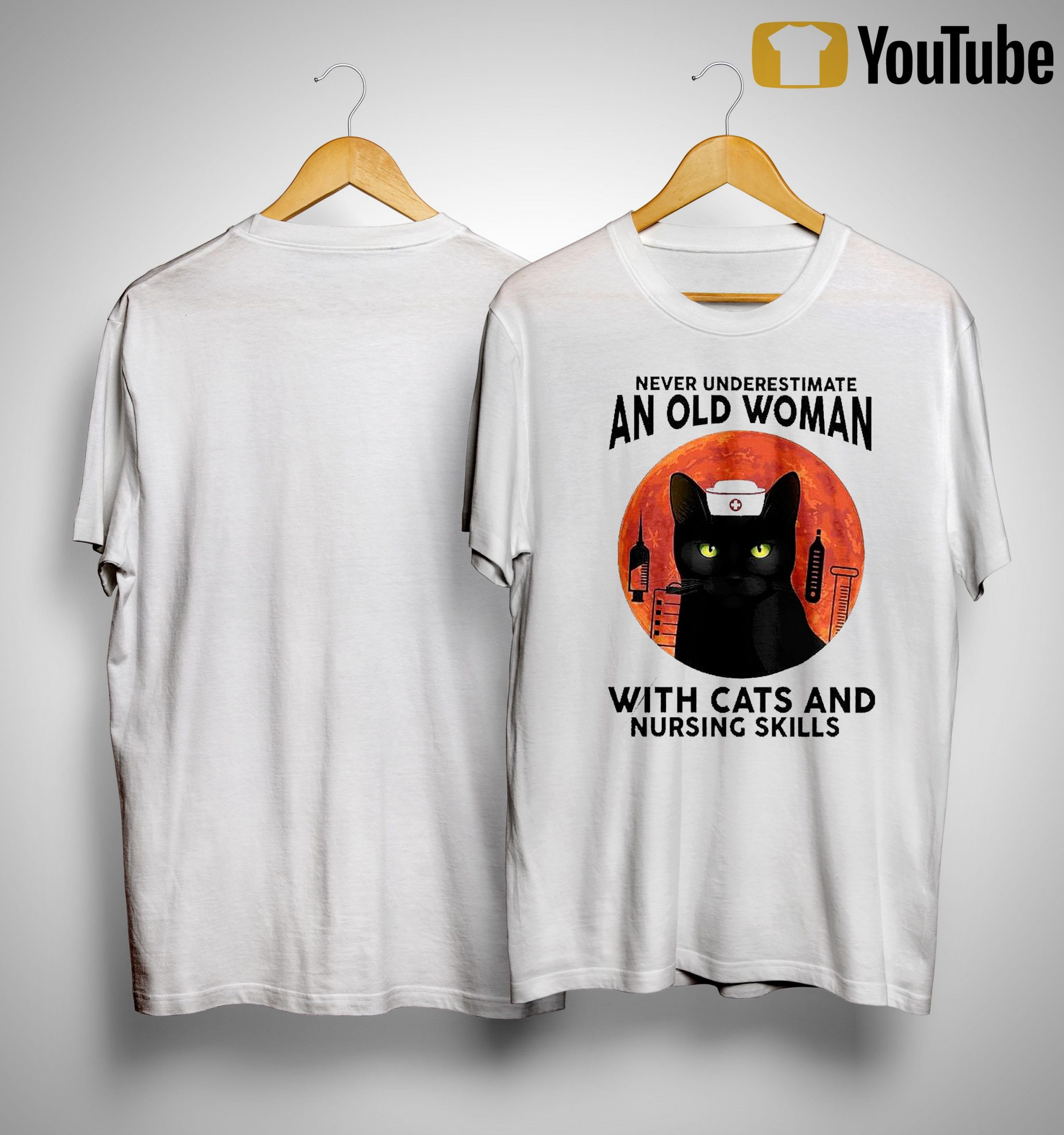 Moon Never Underestimate An Old Woman With Cats And Nursing Skills Shirt