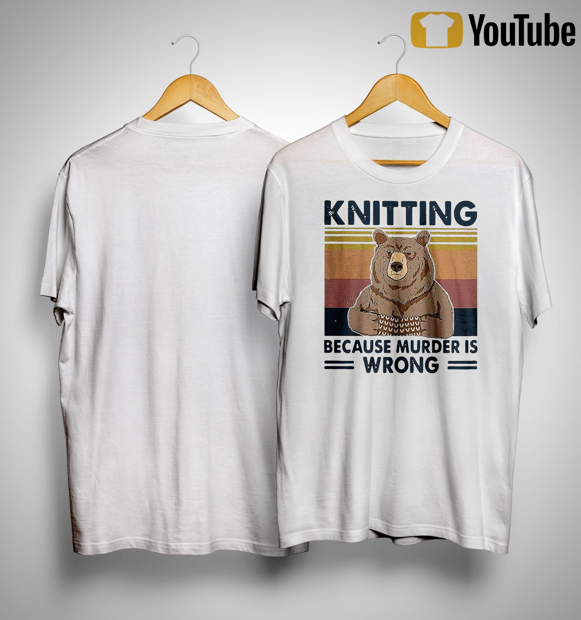 Vintage Bear Knitting Bcause Murder Is Wrong Shirt