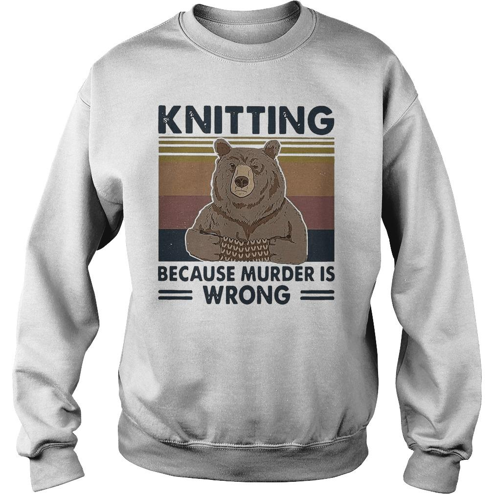 Vintage Bear Knitting Bcause Murder Is Wrong Sweater