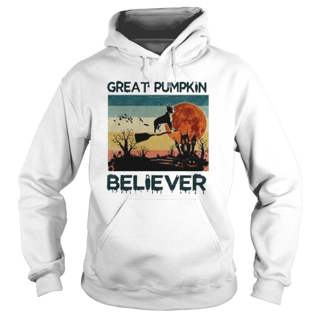 Vintage Boston Terrier Great Pumpkin Believer Hoodie