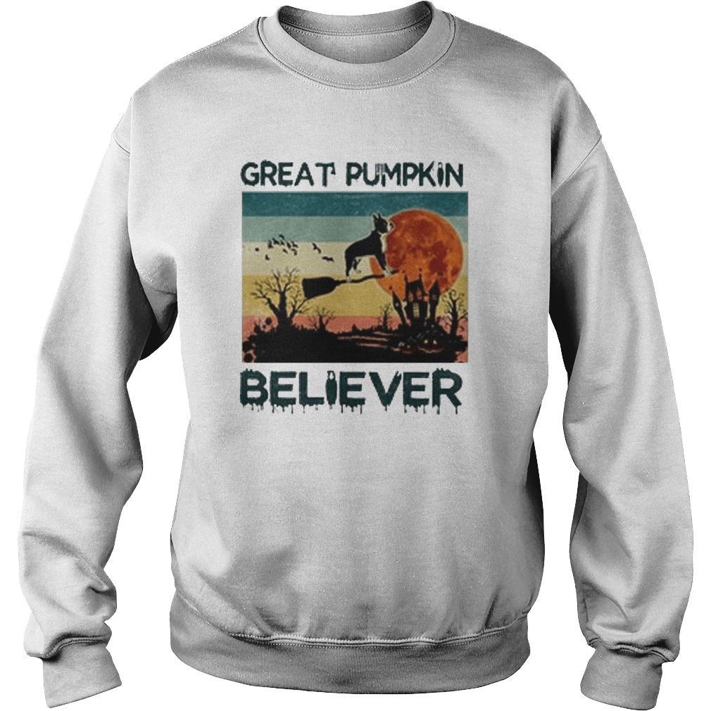 Vintage Boston Terrier Great Pumpkin Believer Sweater