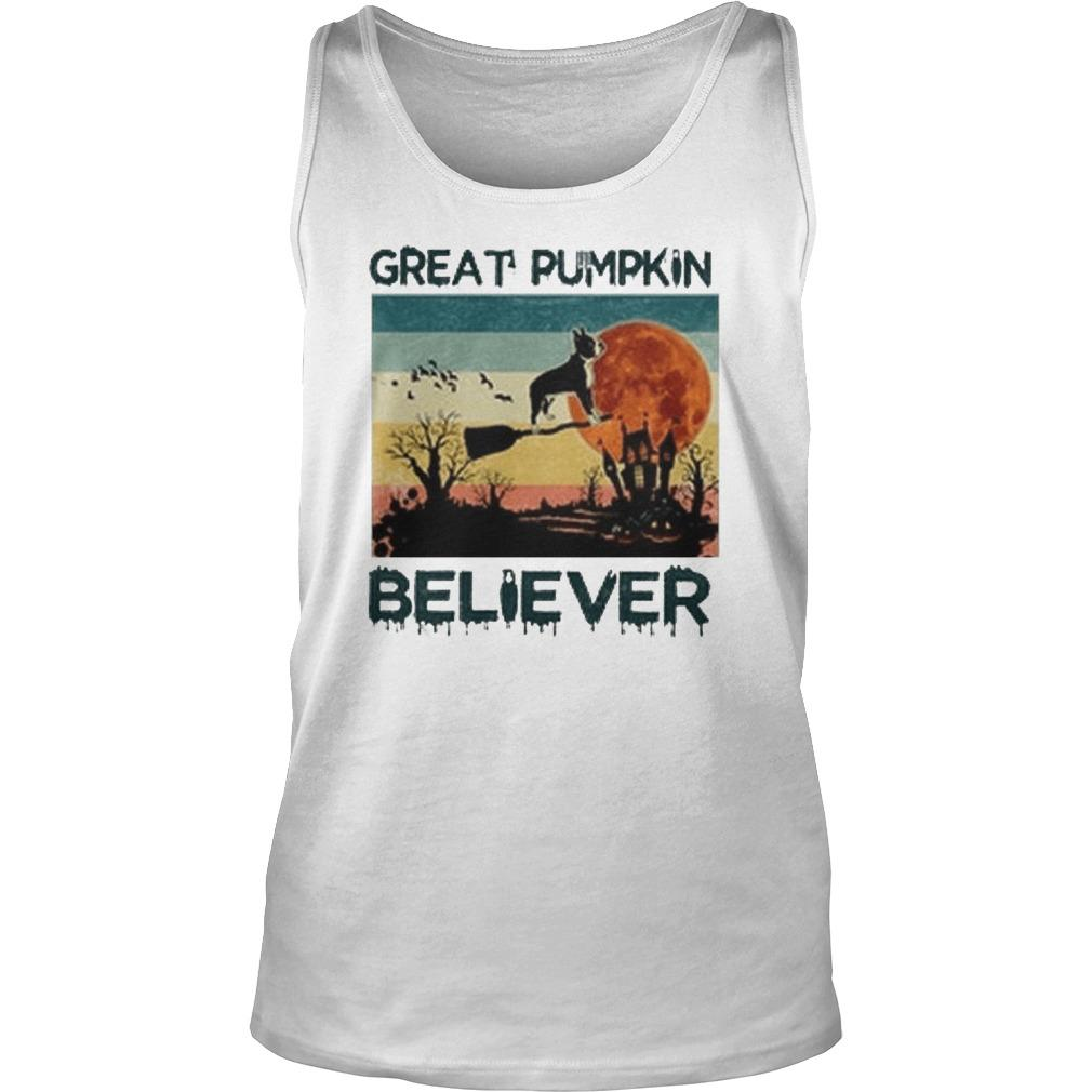 Vintage Boston Terrier Great Pumpkin Believer Tank Top