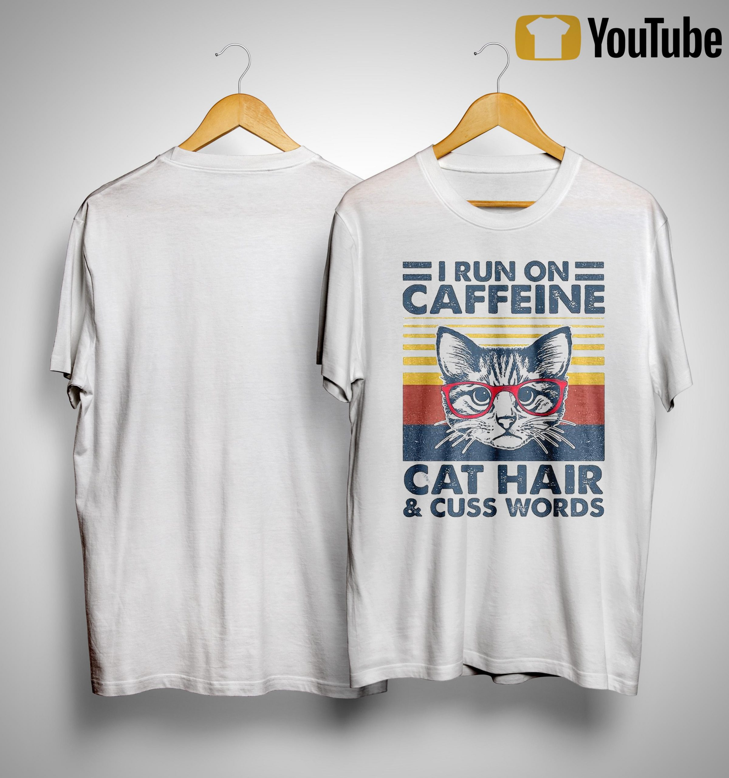 Vintage Cat I Run On Caffeine Cat Hair And Cuss Words Shirt