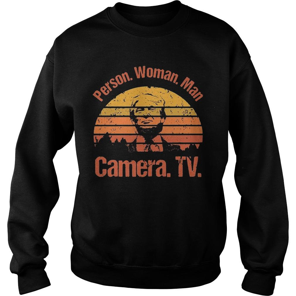 Vintage Donald Trump Person Woman Man Camera Tv Sweater
